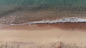 Aerial top view on the beach. Summer time morning. stock video footage