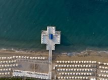Aerial top view on the beach. Summer time morning. Royalty Free Stock Image