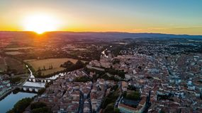Aerial top view of Beziers town, river and bridges from above, France. Aerial top view of Beziers town, river and bridges from above, South Francen Royalty Free Stock Photo