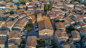 Aerial top view of Bram medieval village from above, Southern France Royalty Free Stock Image