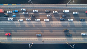 Aerial top view of bridge road automobile traffic of cars, transportation concept Stock Images