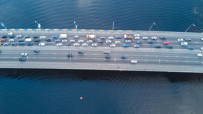 Aerial top view of bridge road automobile traffic of cars, transportation concept Royalty Free Stock Images