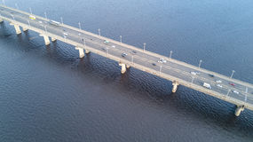 Aerial top view of bridge road automobile traffic of cars, transportation concept Stock Photos