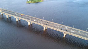 Aerial top view of bridge road automobile traffic of cars, transportation concept Royalty Free Stock Photography