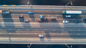 Aerial top view of bridge road automobile traffic of many cars, transportation Royalty Free Stock Photography