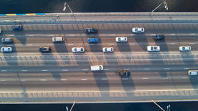 Aerial top view of bridge road automobile traffic ofcars, transportation concept Royalty Free Stock Photo