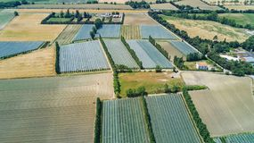 Aerial top view of Canal du Midi and vineyards from above, beautiful rural countryside landscape of France. Aerial top view of Canal du Midi and vineyards from stock image