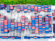 Aerial top view of cargo container shpping Royalty Free Stock Photo