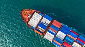 Aerial top view cargo vessel, Container vessel in export and imp stock photos