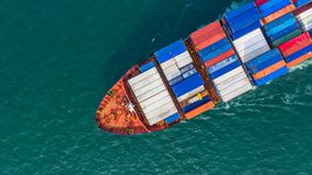 Aerial top view cargo vessel, Container vessel in export and imp stock image