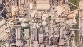 Aerial top view cement plant factory manufacturing, Cement factory machinery. royalty free stock photo