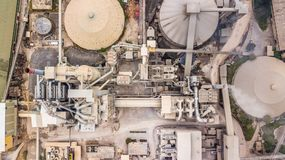 Aerial top view cement plant factory manufacturing, Cement factory machinery. royalty free stock images