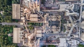 Aerial top view cement plant factory manufacturing, Cement factory machinery. stock photo