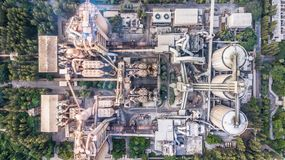 Aerial top view cement plant factory manufacturing, Cement factory machinery. stock photography