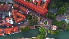 Aerial top view of Christ Church, an 18th-century Anglican church in the city of Melaka, Malaysia. It is also the oldest functioni