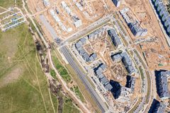 Aerial top view of city construction site royalty free stock photos