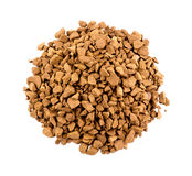 Aerial top view of coffee powder isolated on white Stock Image