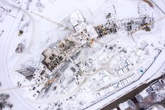 Aerial top view of construction site in winter. building of new residential area royalty free stock photos
