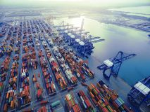 Aerial top view container in port warehouse waiting for export . Royalty Free Stock Photos