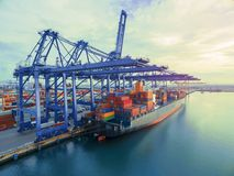 Aerial top view container in port warehouse waiting for export . Stock Photography