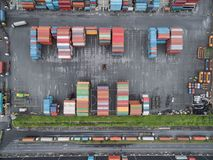 Aerial top view container in port warehouse waiting for export . Aerial top view container in port warehouse waiting for export at thailand Stock Photo