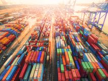 Aerial top view container in port warehouse waiting for export . Stock Photos