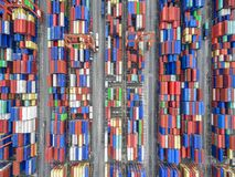 Aerial top view container in port warehouse waiting for export . Aerial top view container in port warehouse waiting for export at thailand Stock Photos