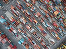 Aerial top view container in port warehouse waiting for export . royalty free stock images