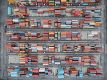 Aerial top view container in port warehouse waiting for export . Aerial top view container in port warehouse waiting for export at thailand Stock Image
