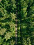 Aerial top view of a country road through a fir forest in summer rural Finland Stock Images