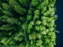 Aerial top view of country road in green summer forest and blue lake. Rural landscape in Finland royalty free stock photos