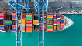 Aerial top view crane shipping container, cargo container ship c