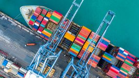 Aerial top view crane shipping container, cargo container ship c stock image