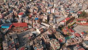 Aerial top view with drone on Kathmandu is the capital of mystical Nepal, the highest altitude country. Aerial top view with drone on Kathmandu is the capital stock video footage