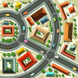 Aerial Top View Flat Design Vector Abstract City. With Streets, Houses, Cars and People Stock Photo