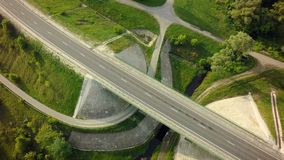 Aerial Top View of highway intersection junction summer morning.  stock photo