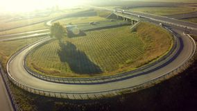 Aerial Top View of highway intersection junction summer morning. With car royalty free stock photo