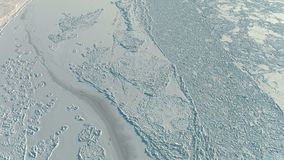 Aerial top view of ice on frozen river stock video