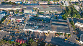 Aerial top view of industrial park zone from above, factory chimneys and warehouses, industry district. In Kiev Kyiv, Ukraine Stock Photography
