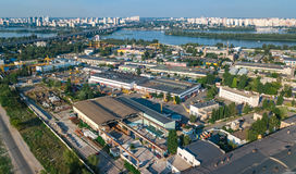 Aerial top view of industrial park zone from above, factory chimneys and warehouses, industry district in Kiev, Ukraine. Aerial top view of industrial park zone Stock Photos