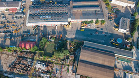 Aerial top view of industrial park zone from above, factory chimneys and warehouses, industry district in Kiev, Ukraine. Aerial top view of industrial park zone Royalty Free Stock Photo