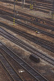 Aerial Top View of Intersecting Rails Royalty Free Stock Photography