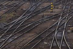 Aerial Top View of Intersecting Rails Royalty Free Stock Image