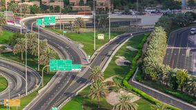 Aerial top view junction at Sheikh Zayed road near Dubai Marina and JLT timelapse, Dubai. Aerial top view junction at Sheikh Zayed road near Dubai Marina and stock video