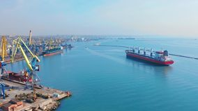 Aerial top view 4K of cargo ship in import export business logistic and transportation of international by cargo ship in. The sea stock video footage