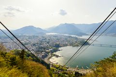 Aerial top view of Kawagchiko lake. And town cityscape panorama with Ropeway cable, Landmark of Japan. Famous travel destination to see mountain Fuji beautiful stock photos