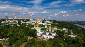 Aerial top view of Kiev Pechersk Lavra churches on hills from above, cityscape of Kyiv, Ukraine Stock Photo