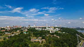 Aerial top view of Kiev Pechersk Lavra churches on hills from above, cityscape of Kyiv, Ukraine Stock Photography