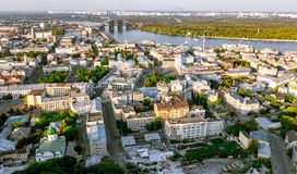 Aerial top view of Kyiv cityscape, Podol historical district skyline from above, city of Kiev Royalty Free Stock Image