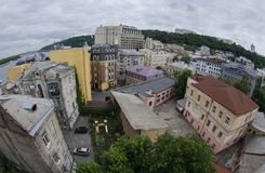 Aerial top view of Kyiv, Podol historical district,Ukraine Stock Photo